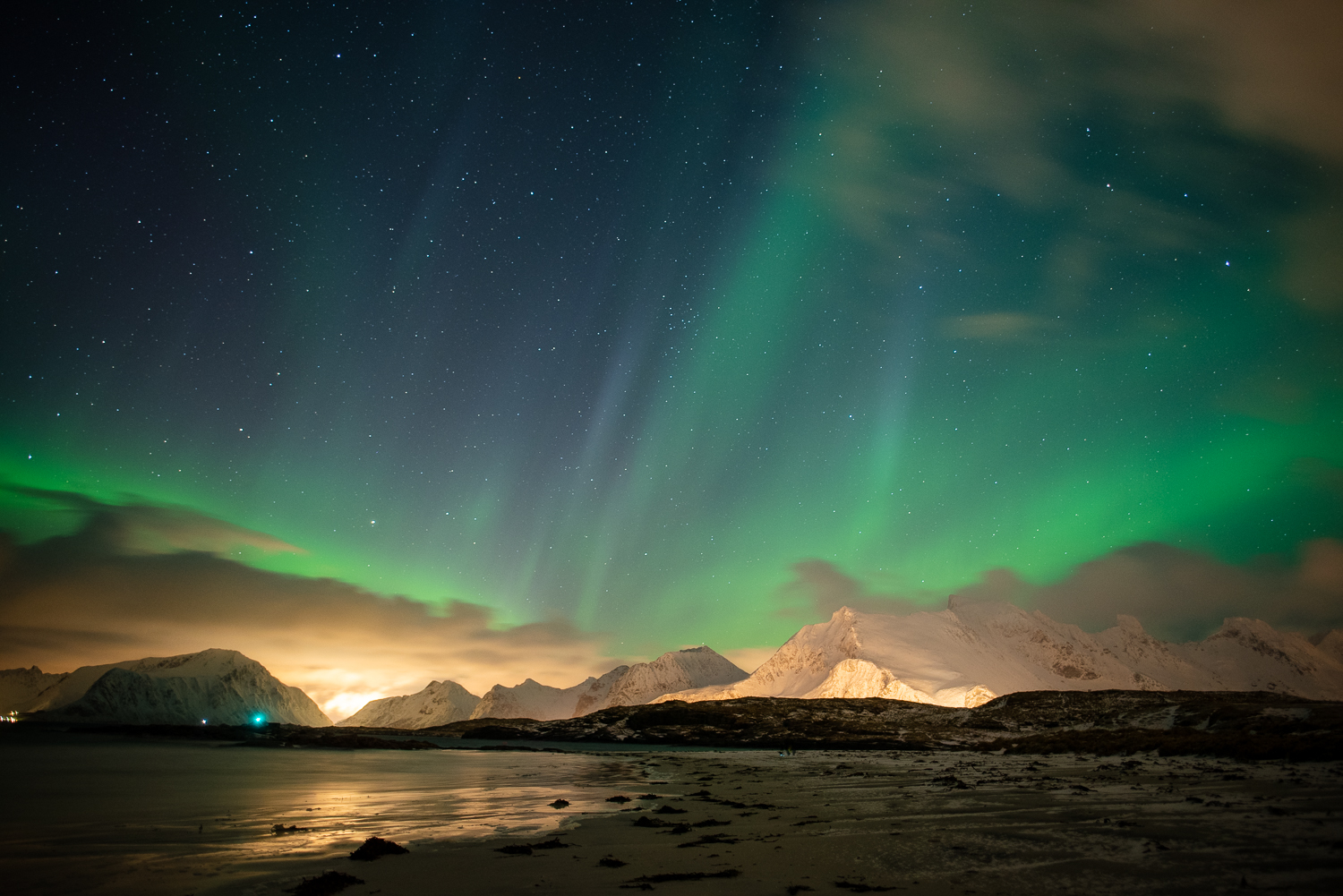 Aurora Borealis above Ramberg, Lofoten islands