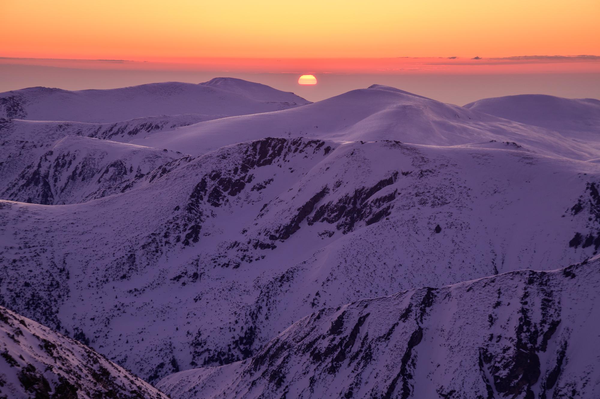 Winter sunrise from Musala peak
